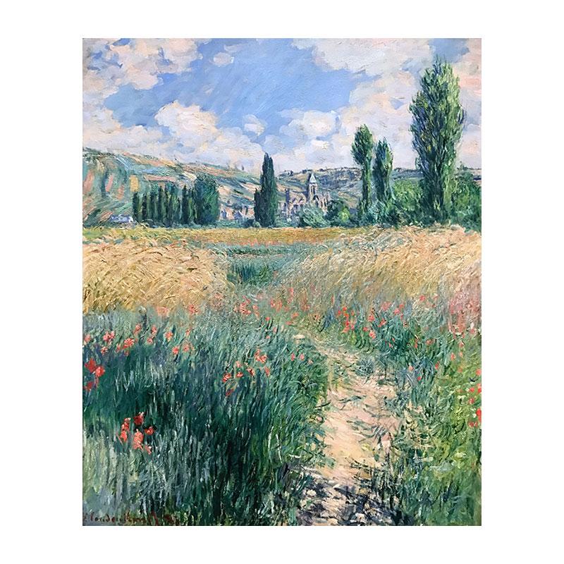 莫奈圣馬丁島上的小路鄉村風景油畫定制裝飾畫優質布畫芯高清印制