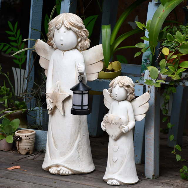 Angel ornaments lighted courtyard decorated retro home accessories and creative living room lovely landscaped garden sculpture
