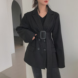 boccalook Hepburn style black suit woolen coat coat female long trench coat large size winter thickening