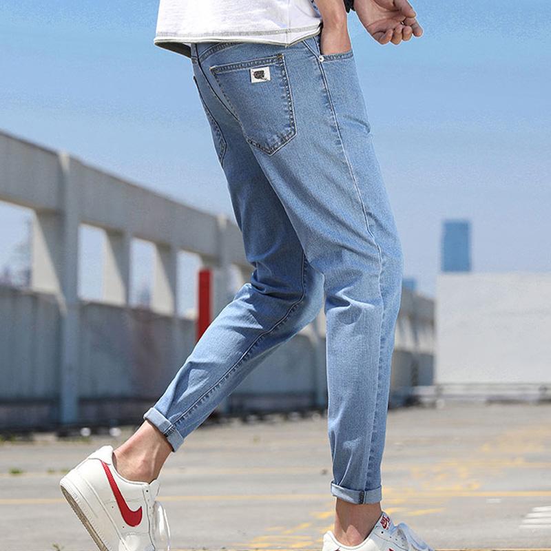 夏季休闲九分裤男士牛仔裤青少年修身小脚学生长裤男裤子潮流薄款