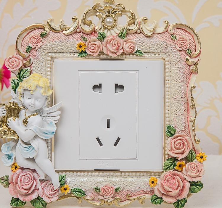 欧式树脂双开三开创意开关贴墙贴简约家居墙壁插座面板装饰保护套