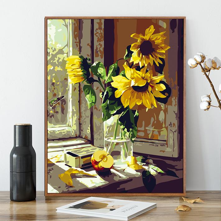 diy數字油畫手繪填色情侶客廳玄關風景花卉向日葵裝飾畫40*50視窗