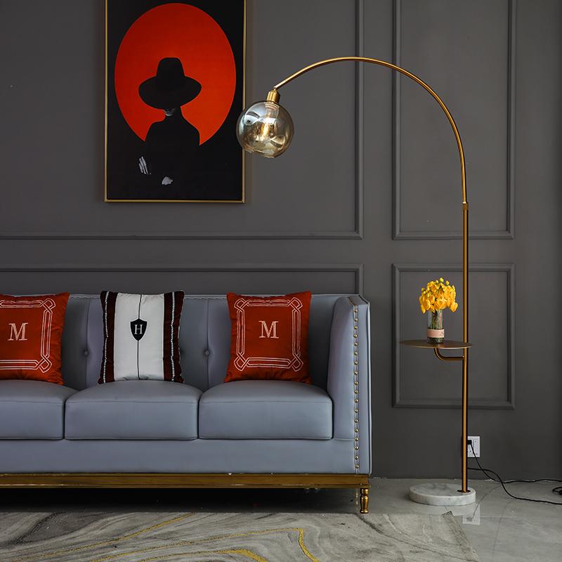 后现代轻奢客厅钓鱼灯落地灯北欧网红创意茶几玻璃罩卧室床头台灯