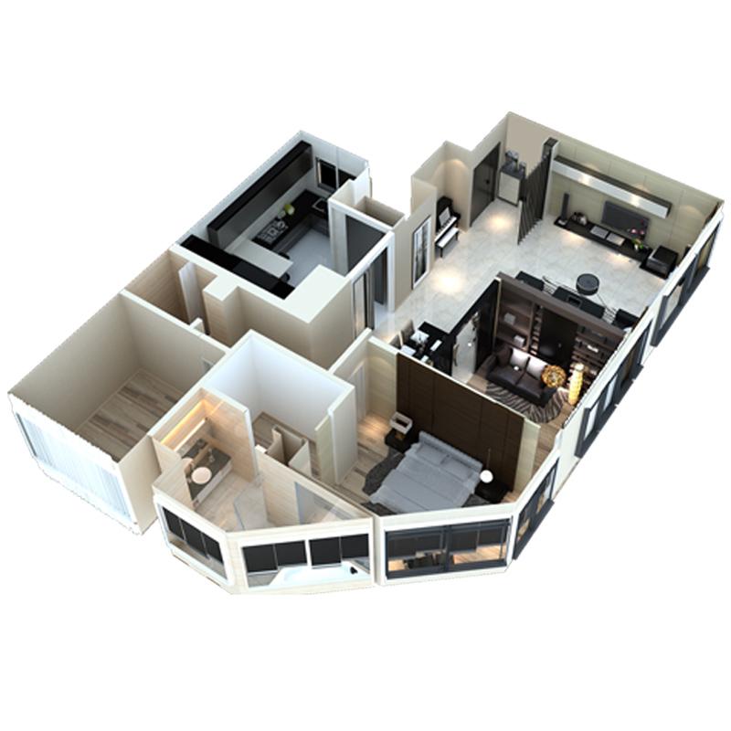 精英设计师 美式风格家装装修设计效果图3d小户型二三居室内全屋