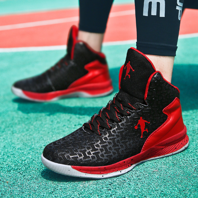 籃球鞋男夏季男士高幫網面透氣鴛鴦藍球鞋中學生運動球鞋兒童球鞋
