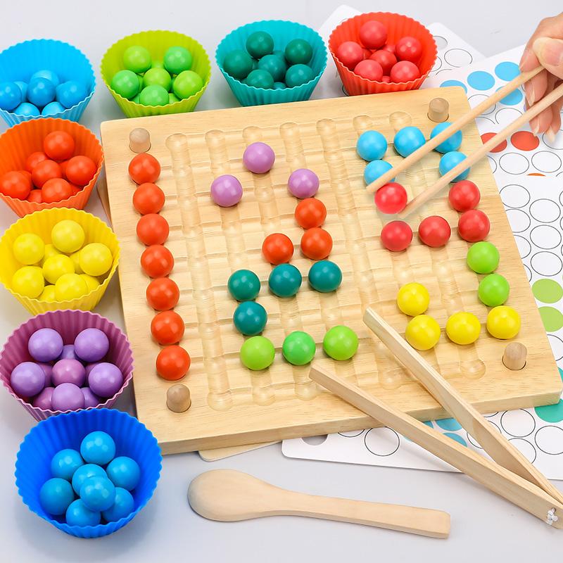 儿童夹珠子彩虹消消乐益智思维训练玩具专注力女孩男孩家庭逻辑类