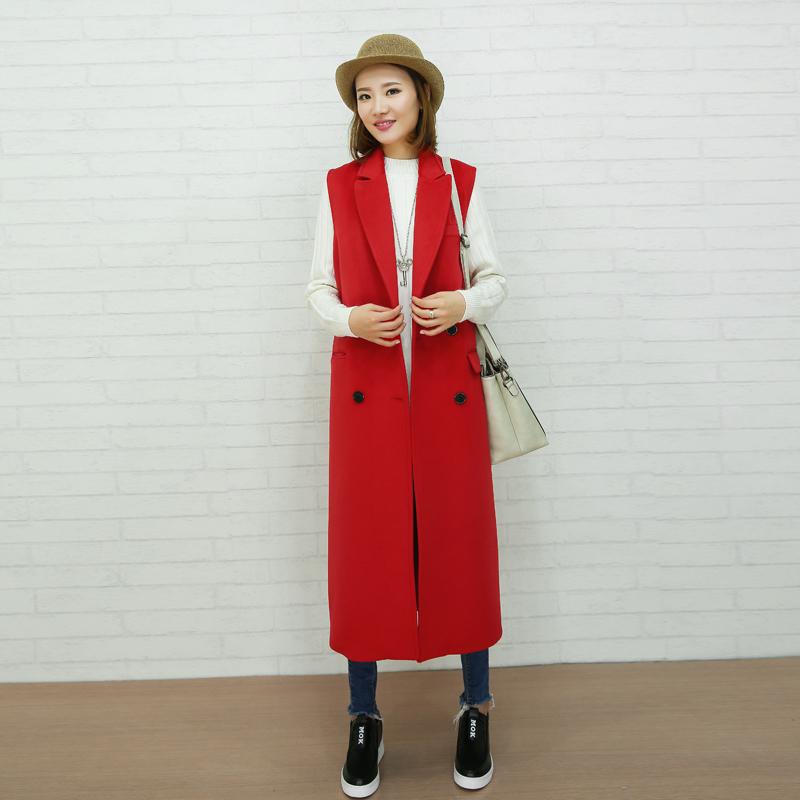 秋冬新品女装韩版长款毛呢马甲女羊绒大码显瘦无袖呢西服外套百搭