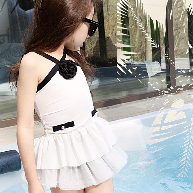 韩国童装女童泳衣气质小香风儿童分体裙式泳衣女宝亲子游泳衣新款