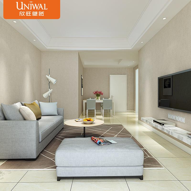欣旺现代简约纯色壁纸 深色亚麻客厅素色墙纸 卧室电视背景墙纸
