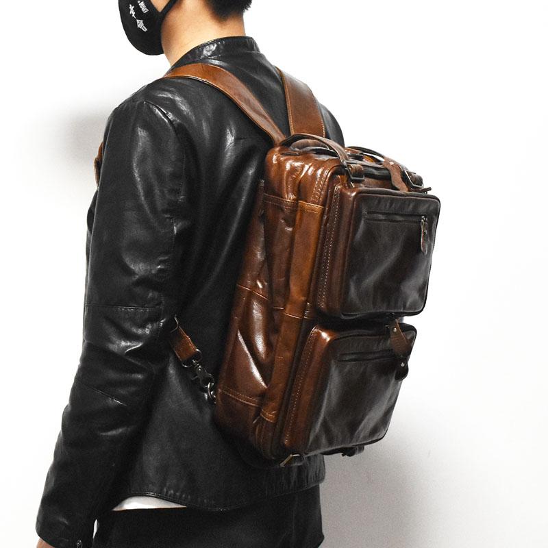 手工英倫復古牛皮雙肩包潮男包多功能三用旅行真皮揹包商務電腦包