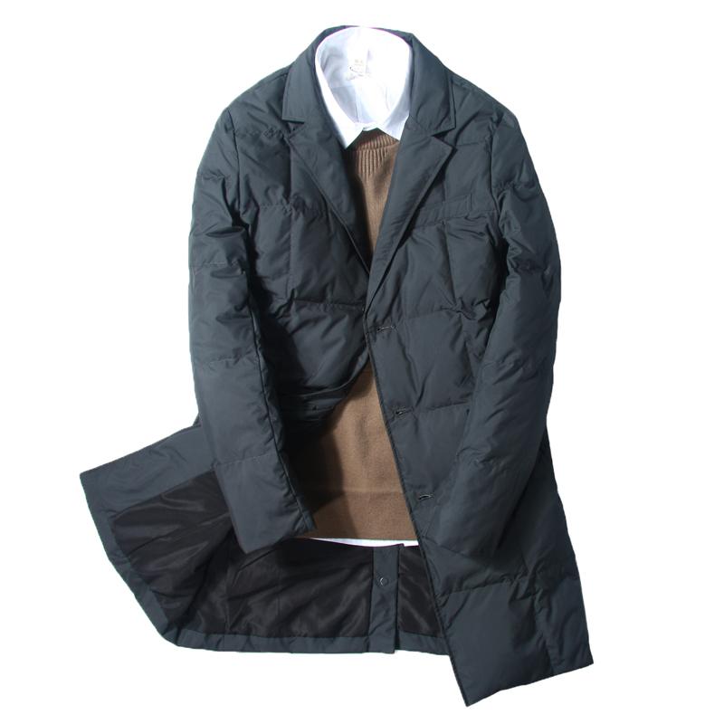 商务西服款羽绒服男中长款轻薄冬季修身潮流青年西装领男士外套