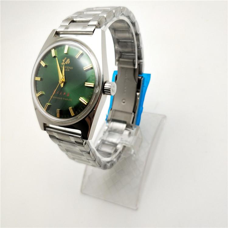 国产腕表全新库存彩盘东风紫盘绿盘男款手动机械手表收藏品绿表带