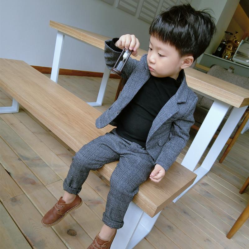 DD家秋冬西装套装男童韩版两件套新品长裤外套羊毛呢礼服格子童装
