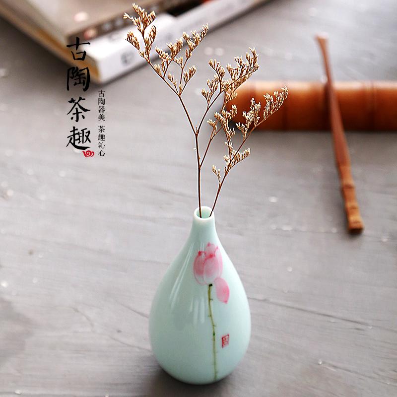 手绘陶瓷小花瓶摆件小清新简约迷你瓷瓶客厅创意插花干花水培花器