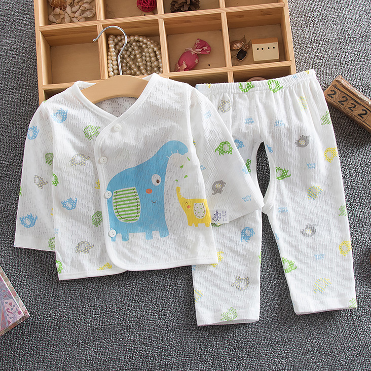 夏季嬰兒內衣開檔套裝夏天薄透氣孔寶寶長袖內衣套裝空調房衣服