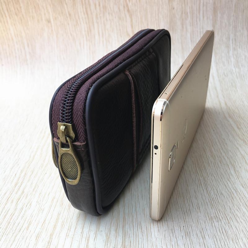 真皮手机包男穿皮带横款超薄单层牛皮挂腰皮套华为6寸手机袋腰包