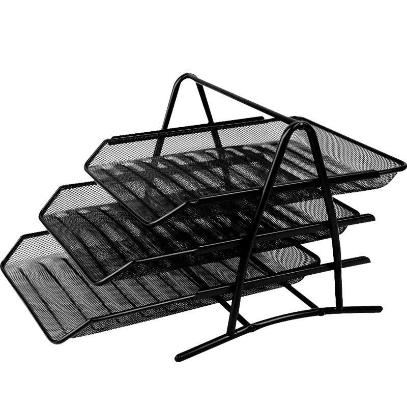 金属铁网三层文件盘3层4层文件架文件篮资料收集盘铁网状文件盘