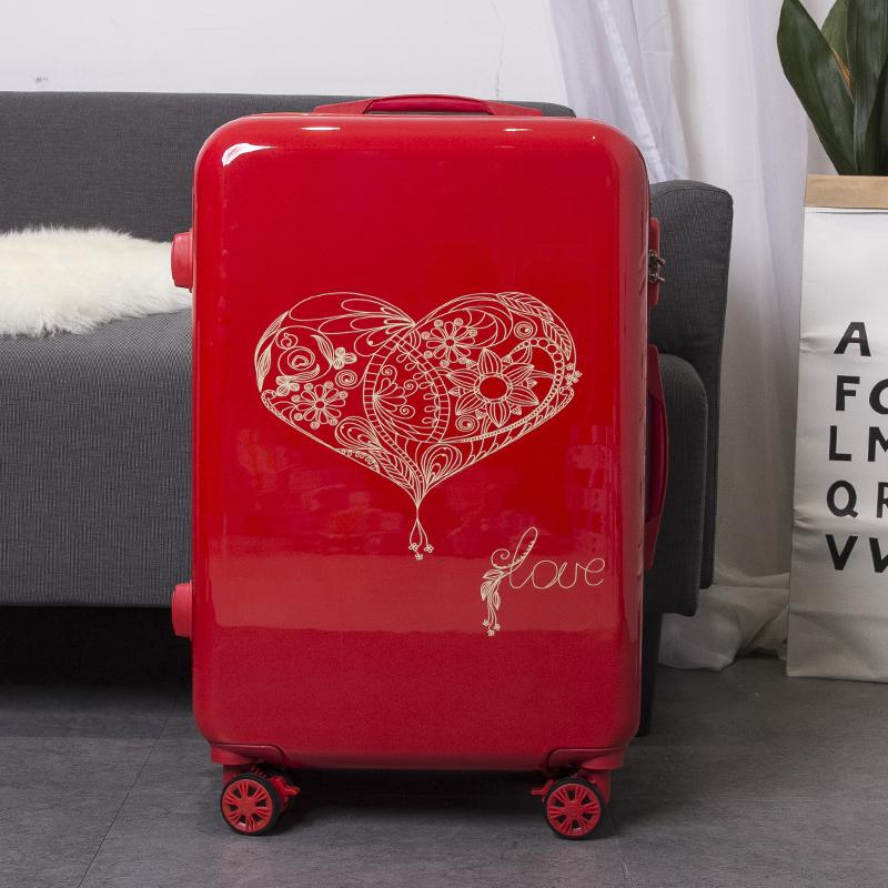 结婚行李箱陪嫁箱旅行箱大红色拉杆箱新娘皮箱子婚礼嫁妆密码压箱