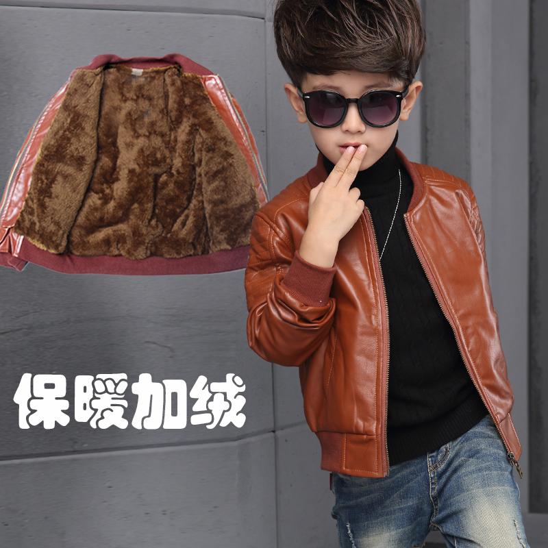 童装2019男童外套秋冬新款中大儿童加绒加厚皮衣单薄夹克男孩上衣