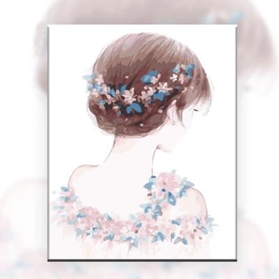 diy手工减压填色数字油画油彩画自绘INS插画少女卡通动漫人物女孩