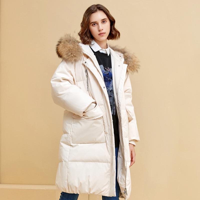 女大貉子毛领、90%鸭绒:暖频道 中长款修身羽绒服