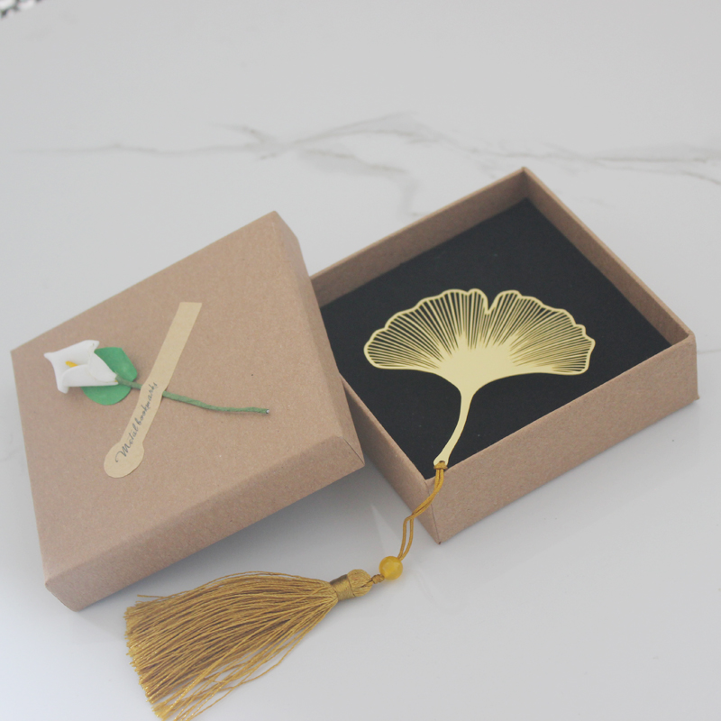 黄铜叶脉书签银杏叶梧桐叶流苏刻字创意小清新学生用金属毕业礼品