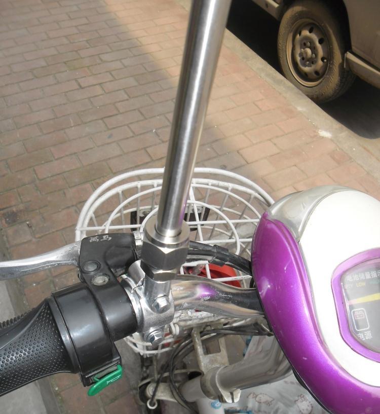 骑行宣传外卖不锈钢伸缩车载改装车把装饰自行车摩托车电动车旗杆