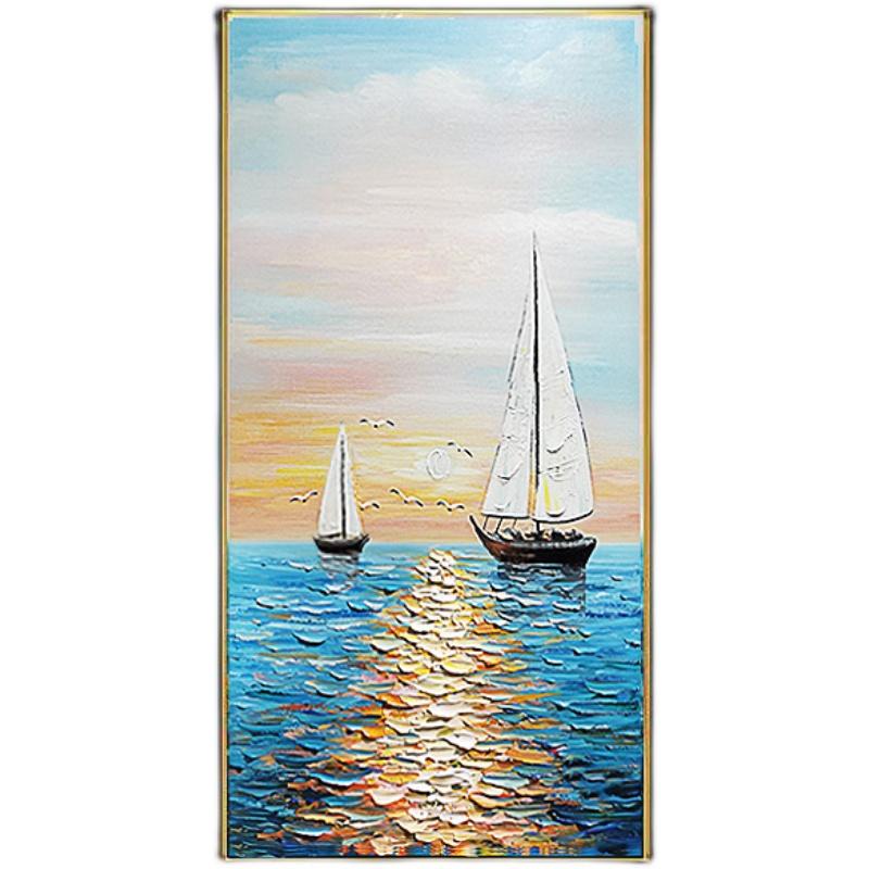 現代簡約手繪油畫玄關裝飾畫北歐過道走廊盡頭掛畫豎版一帆風順