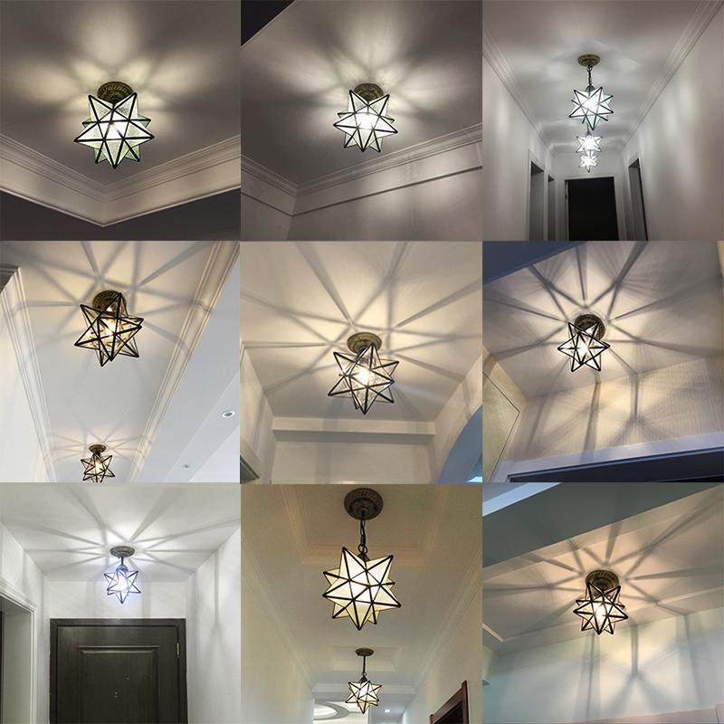 五角星入户玄关走廊过道灯北欧卧室阳台吸顶灯美式个性创意星星灯