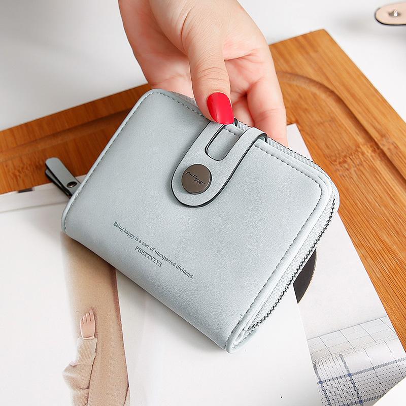新款钱包女短款学生韩版可爱折叠两折小清新卡包钱包一体包女 2019