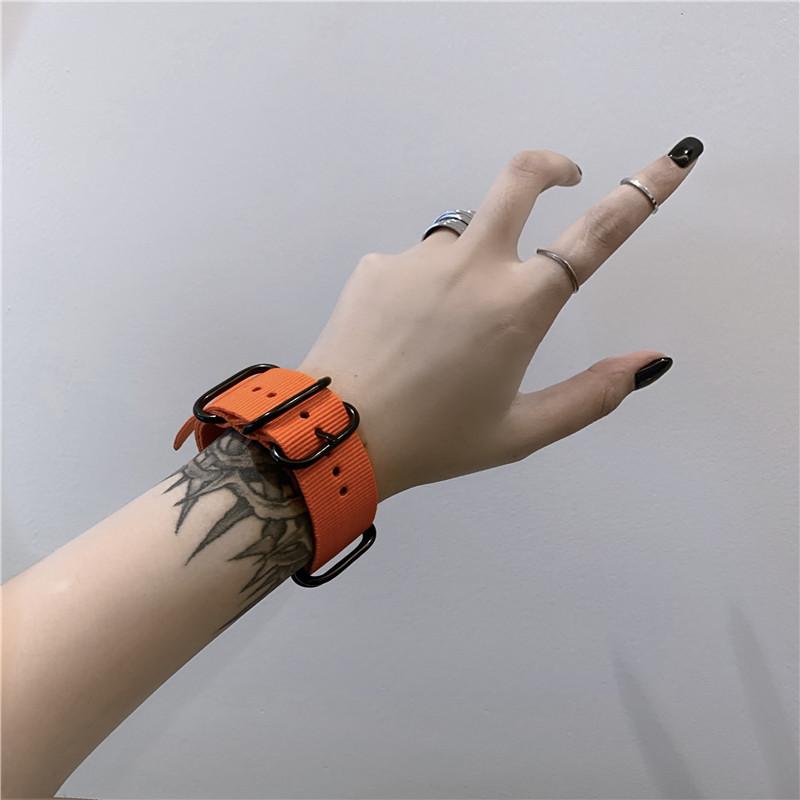 韩版 复古运动风街头个姓手链简约百搭饰品纯色手环表带男女潮  ins