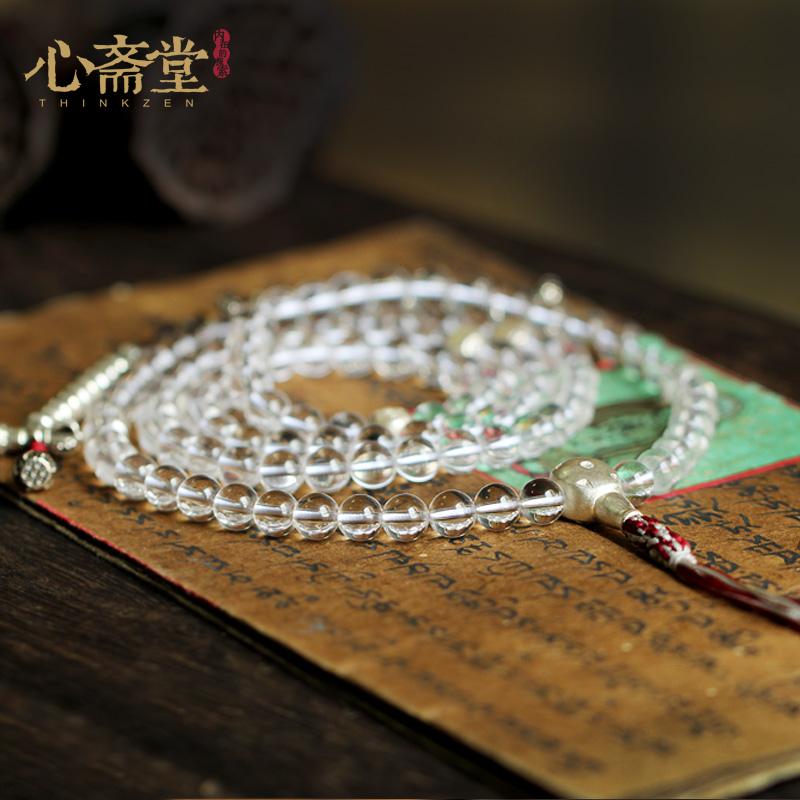 天然巴西白水晶  颗手链修行念珠佛珠手串女 108 心斋堂 白度母