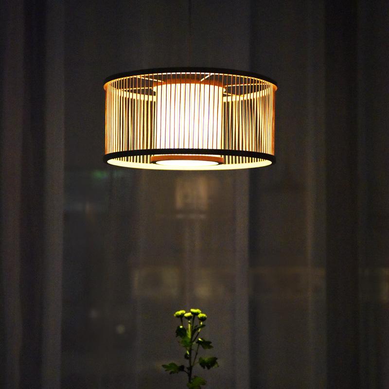 日式创意竹编客厅吊灯现代简约卧室餐厅书房个姓竹灯 十竹九造