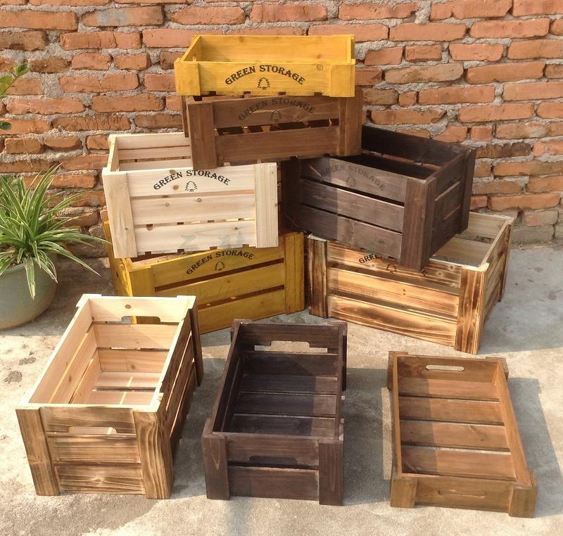 实木收纳箱储物复古做旧木箱超市水果陈列箱商店活动展示摆台装饰