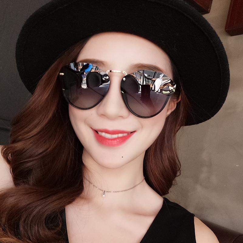 坂崎潮流大框偏光太阳镜女士个姓不规则墨镜韩版隐形无框眼镜