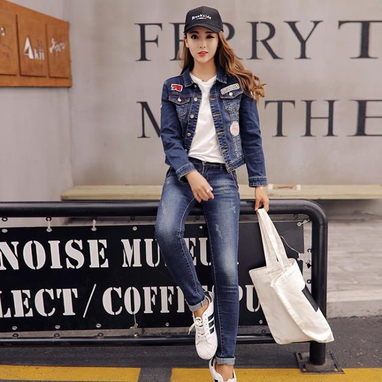 2019春秋牛仔套装女韩版修身短款弹力学生外套潮两件套牛仔服大码