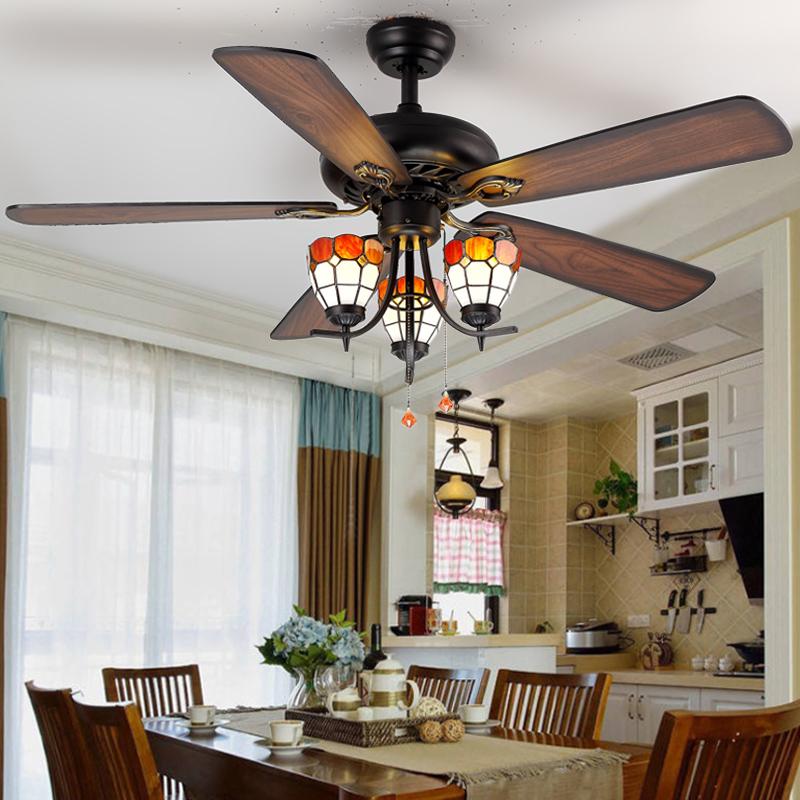 美式吊扇灯客厅餐厅欧式仿古灯扇加带电风扇吊灯北欧复古风扇灯具