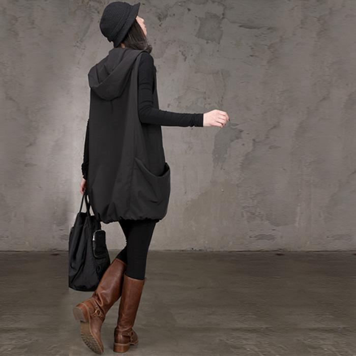 马甲女中长款韩版春秋宽松连帽无袖外套秋季女式休闲工装背心马夹