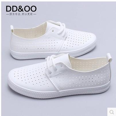 星安DD&OO春夏小白鞋平底帆布鞋女士休閒鞋鏤空透氣鞋白色鞋6656
