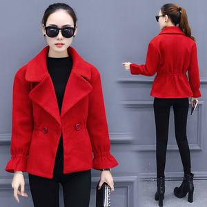 包邮新款韩版外套冬季女装上衣修身毛呢大衣呢子泥子毛呢外套