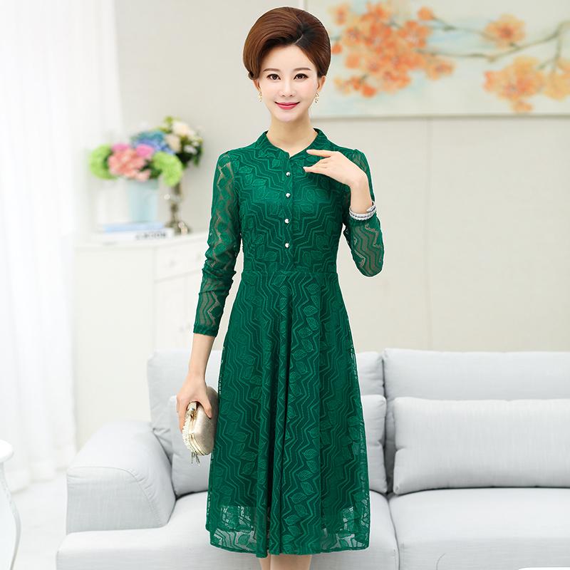 中年人春秋妈妈装长袖蕾丝裙子女显瘦新款 50 岁 40 中老年女装连衣裙