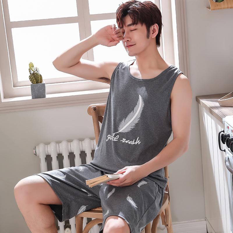 睡衣男夏季背心純棉薄款青少年休閑男士無袖全棉家居服套裝夏天