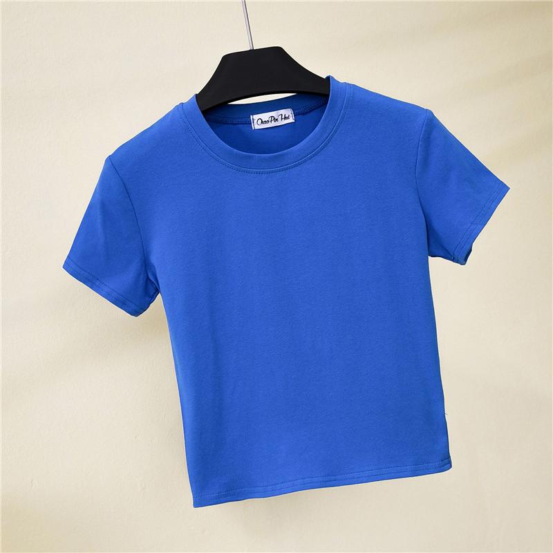 半高领短袖露脐t恤女夏装紧身漏肚脐打底衫短款高腰纯色运动上衣主图