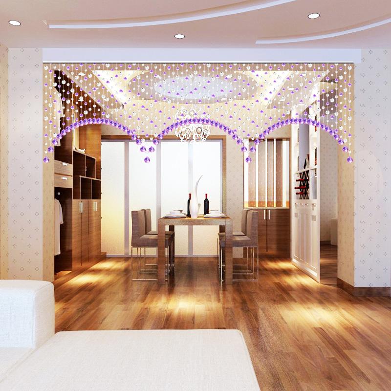 珠帘门帘水晶隔断帘子餐厅装饰帘窗帘连弧白加紫客厅玄关免打孔