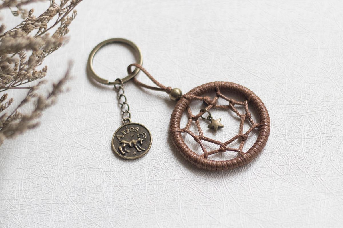 原创设计捕梦网钥匙扣挂件diy材料包情侣迷你星座钥匙链