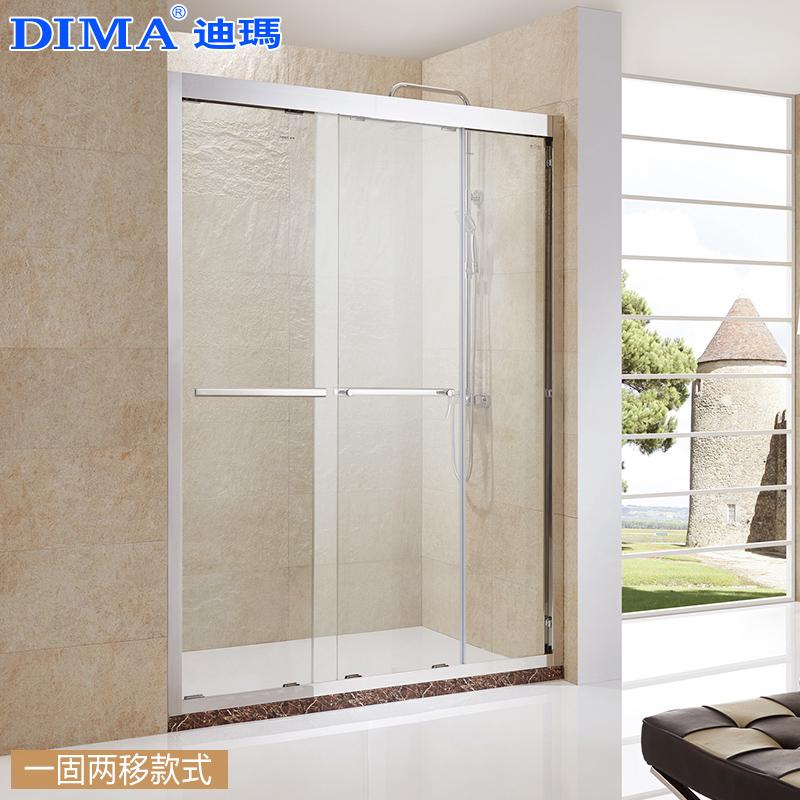 迪玛淋浴房一字形304不锈钢整体浴室玻璃隔断干湿分离沐浴房定制