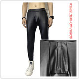 Plus thick velvet autumn and winter Korean men tight leather pants influx of men bottoming pu leather leggings to wear to play within feet warm pants