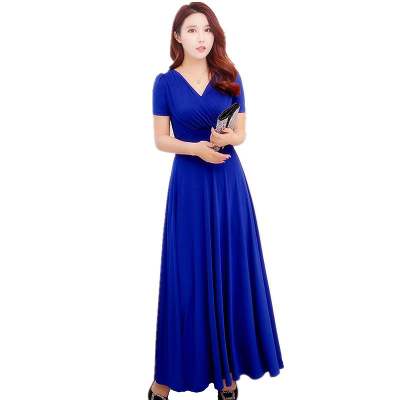2018女装修身显瘦时尚女裙新款连衣裙女短袖高腰大摆裙V领长裙