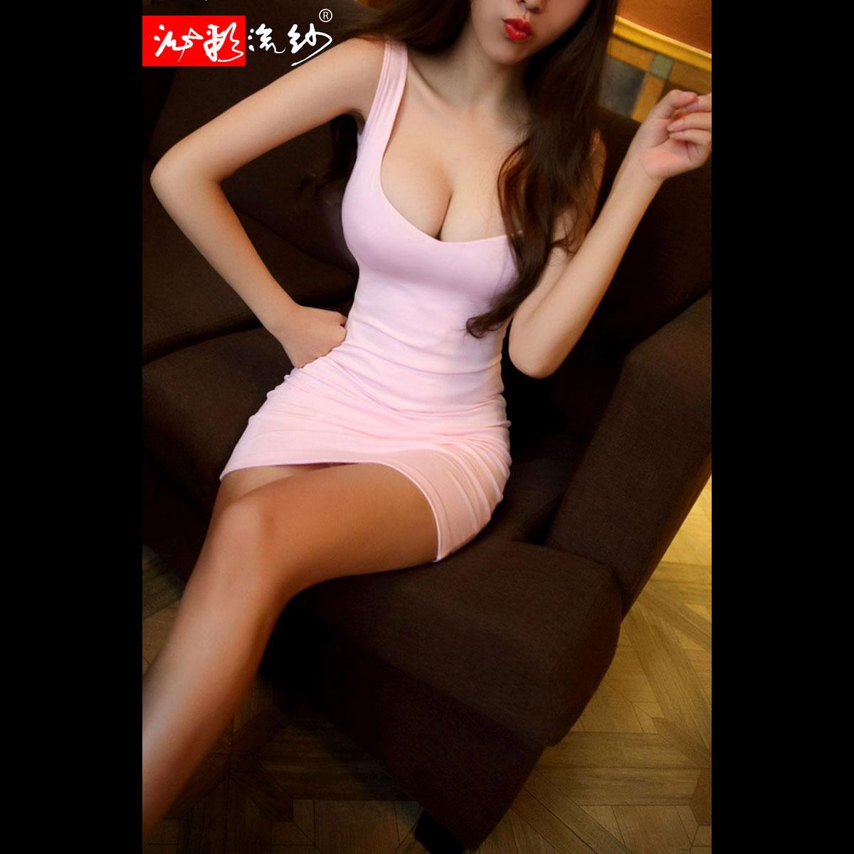 夜店女装夜场夜总会性感连衣裙修身V领低胸紧身包臀露胸超短裙子