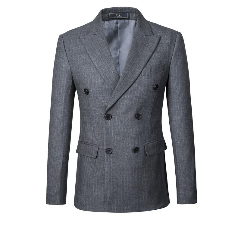 西服套装男士三件套修身竖条纹西装新郎结婚礼服秋英伦韩版主持人